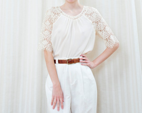 90s off white silk lace blouse | cream ivory lace… - image 2