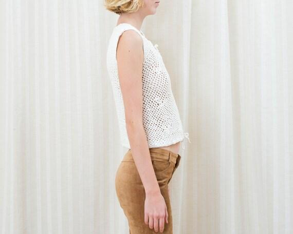 70s white crochet sleeveless sweater | crochet hi… - image 4