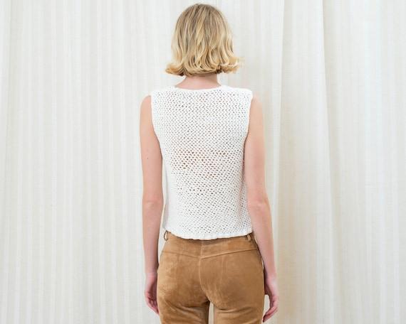 70s white crochet sleeveless sweater | crochet hi… - image 5