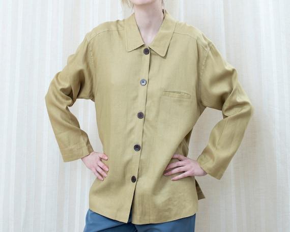 90s pale green linen blouse | light muted green bu