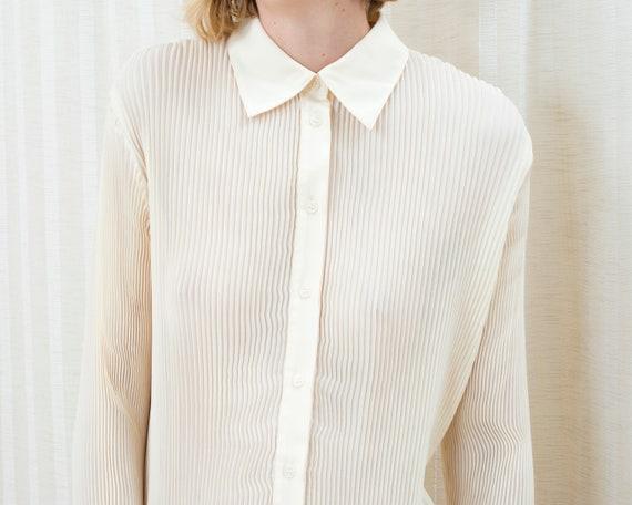 90s ivory pleated blouse | medium off white accor… - image 2