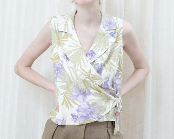 90s purple green silk floral wrap blouse | wrap ar