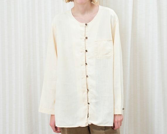 90s yellow linen blouse medium | minimalist cream
