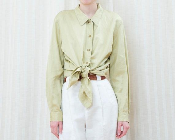 80s lime green silk blouse | emanuel ungaro libert