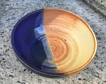 Handmade blue and yellow serving bowl