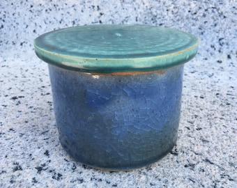 Blue and green ceramic jar