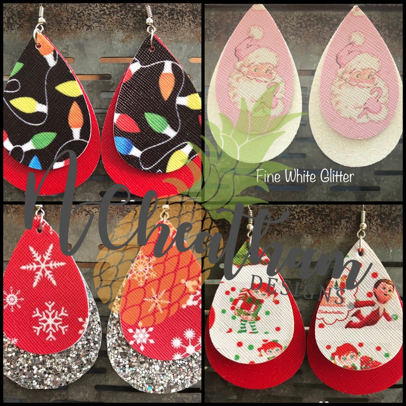 Christmas Faux Leather Earrings image 0