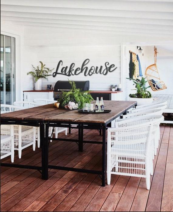 Lakehouse sign, Lakehouse Metal word sign, Lakehouse cursive wall art,  Lakehouse Decor, Summer Decor, Lake House Decor