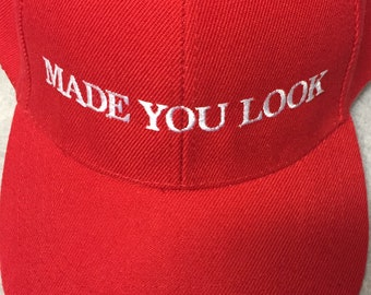8b6ff97da38 MADE You LOOK Funny MAGA Parody Hat Make America Great Again Parody