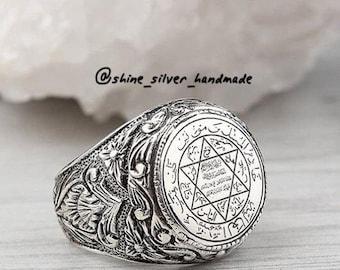 55f109a31cd9 100 % echte Sterling 925 Silber Hand Männer aus Klingeln islamischen Dua  Mannenring Handwerk Handgemaakt Kunsthandwerk