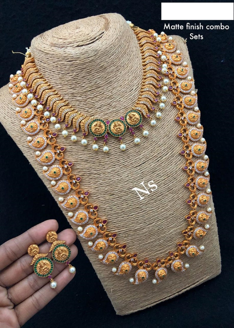 antique handmade temple jewelry combo set with paiseley/& lakshmi coin design detail in haram and necklace.traditional kemp stone inlay work.