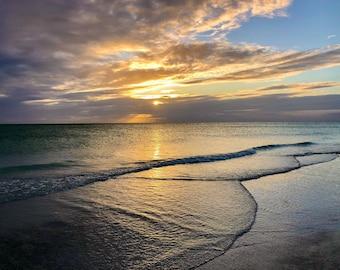 Sunset Over the Gulf-Longboat Key Beach-Heart Waves 01