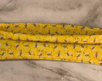 ADJUSTABLE Reusable Adult Face Mask - Happy Bees Print - Washable - Made in CA