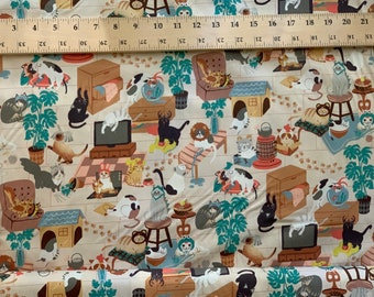 Cats in Hats - Cotton Fabric by 1/2 Yard