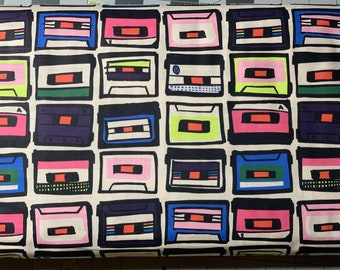 Cassettes on Rewind - Cotton Fabric by 1/2 Yard
