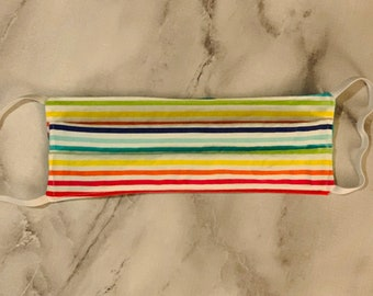 Reusable Adult Face Mask - Lined Rainbow Pattern - Washable - Made in CA
