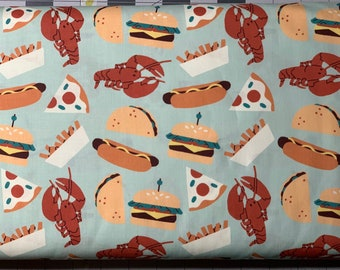 Food Truck Life - Turquoise - Cotton Fabric by 1/2 Yard