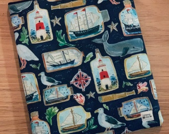 XL Boats in Bottles Padded Sleeve for Books, Tablets, and Devices- Fits up to 9x11in - Book Protector