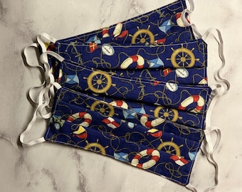 Reusable Adult Face Mask - Nautical Summer pattern - Washable - Made in CA