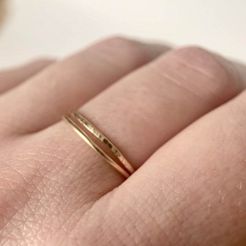 Rose Gold Ring Gold Ring 9ct Gold Ring Yellow Gold or Rose Gold Rings Textured Ring Solid Gold Stacking Rings Stacker Rings