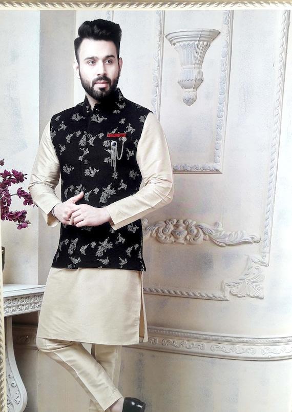 Indian Designer Wedding Wear Men Kurta Pajama With Modi Etsy