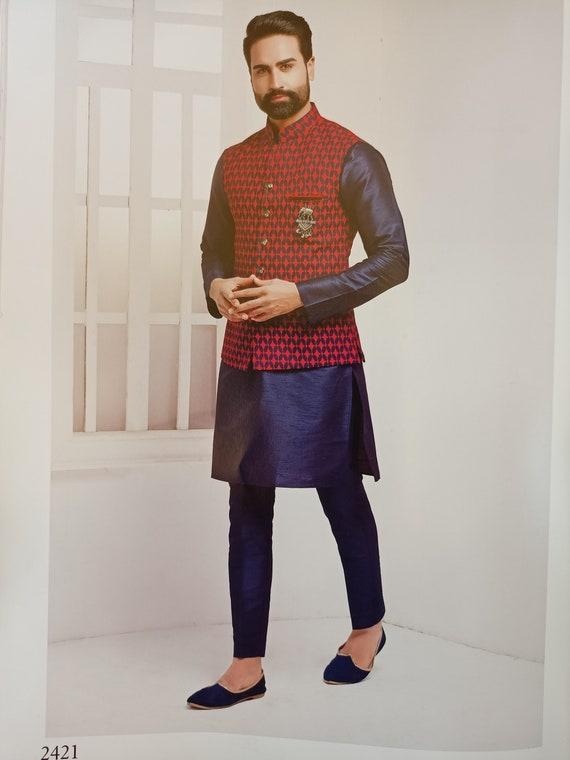 Kurta Pajama for Men Indian Designer Wedding Partywear Royal Outfit Traditional Ethnic India Dress kurta pajama With Embriodery Waist Coat