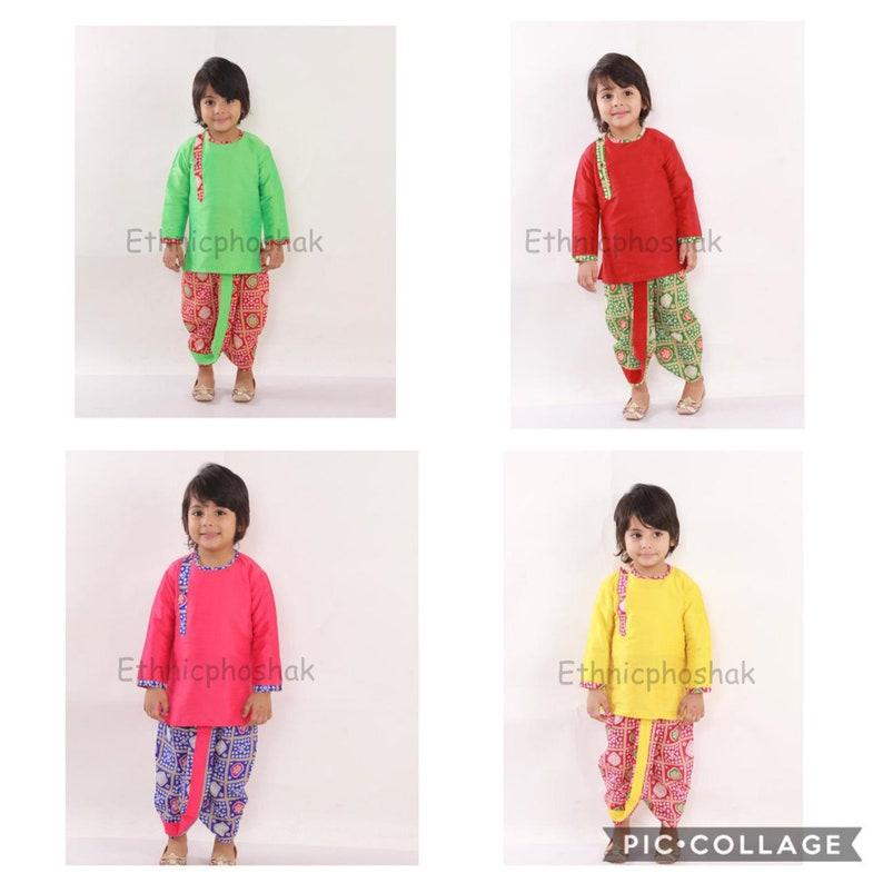 peplum top with bandhej print Dhoti Kurta Traditional Dress,Ethnic Dress For New Born Baby Boy/'s kurta pajamaDhoti Indian Kids Dhoti Kurta