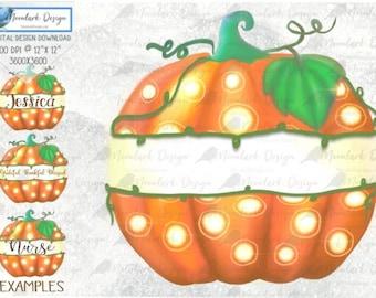 Pumpkin Split Monogram, Monogram png, polka dot pumpkin, watercolor pumpkin, PNG for sublimation, Commercial Use, nurse, teacher, name,