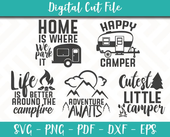 Svg Bundle Pack 5 Svg Files Camping Svg File Camping Sayings Etsy