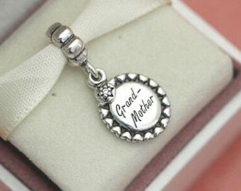 Grandson Heart Grandmother Gift Clear Rhinestone Dangle Charm for Euro Bracelets