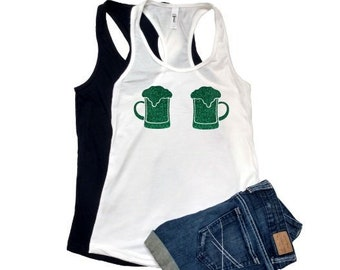 a61ddec08b1 green glitter beer stein bra XS-XXL Tank top shirt Women s green glitter  party