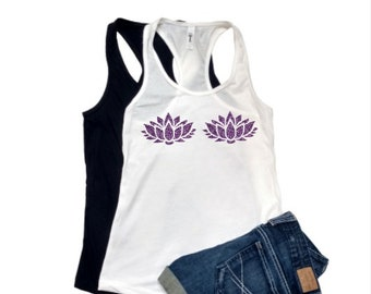 c97af87656 lotus flower glitter bra XS-XXL Tank top shirt Women s purple glitter party