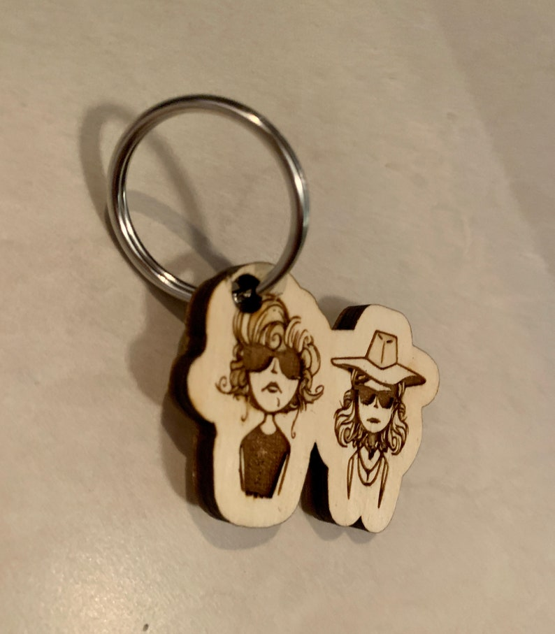 Thelma and Louise wooden handmade keychain BFF best friend gift