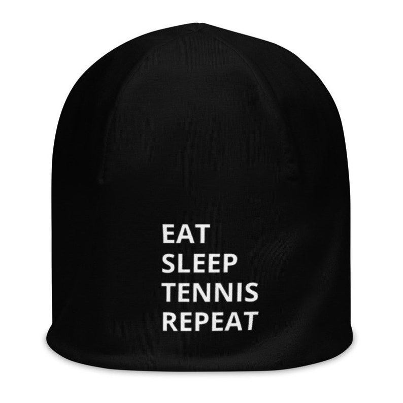 3 Adult Sizes Double Layer Fully Washable EAT SLEEP TENNIS Funny Teen Men/'s or Women/'s Printed Beanie on Black Navy or Brown