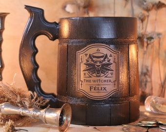 Witcher Mug   Geralt Medallion Personalized Gift   Witcher Gamer gift   Witcher Wolf Gift Wolf Gift Witcher Custom Tankard Gift for Gamer W1