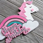 Pink Unicorn Rainbow Happy Birthday Cake Topper