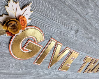 Give Thanks Fall Thanksgiving Banner