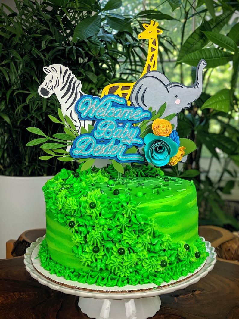 Animal Safari Cake Topper: Baby Shower Birthday image 0