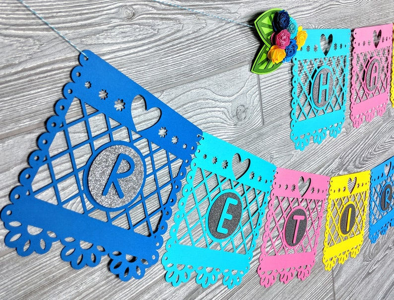 Papel Picado Inspired Banner with Paper Flower Clusters image 0