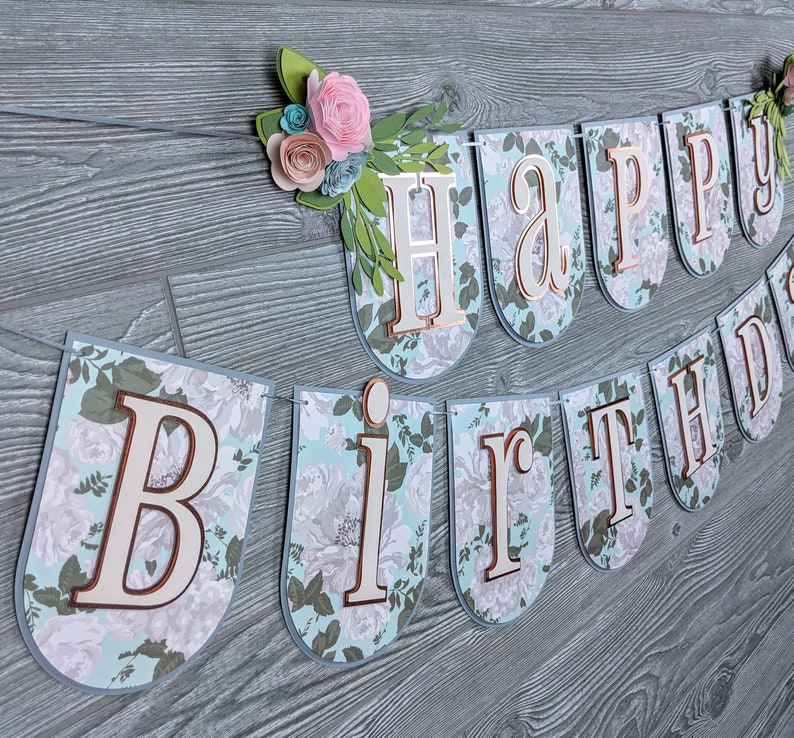 Shabby Chic Floral Happy Birthday Banner image 0