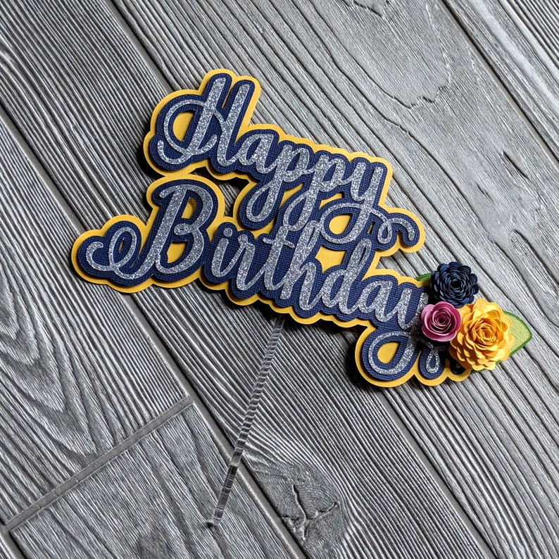 Floral Happy Birthday Cake Topper: Navy Yellow and Pink image 0