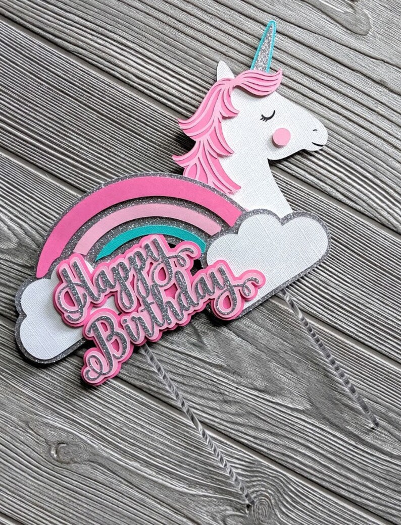 Pink Unicorn Rainbow Happy Birthday Cake Topper image 0