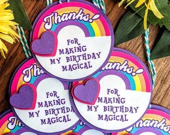 Rainbow Heart Birthday Thank You Party Favor Tag