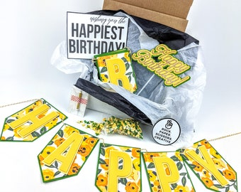 Yellow Floral Happy Birthday Party Decorations or Care package