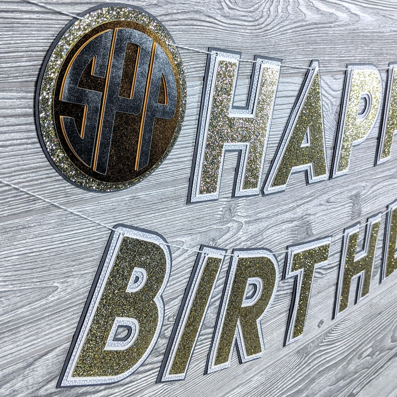 Silver Gold and Gray Monogrammed Happy Birthday Bannner image 0