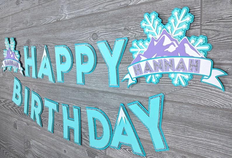 Happy Birthday Banner: Winter Ice Princess Snow Frozen image 0