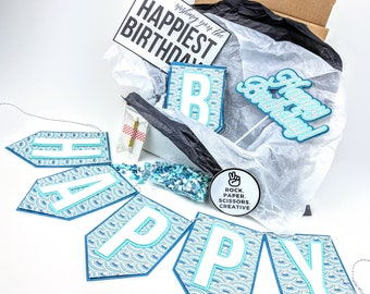 Teal and Blue Scalloped Happy Birthday Decorations or Care Package
