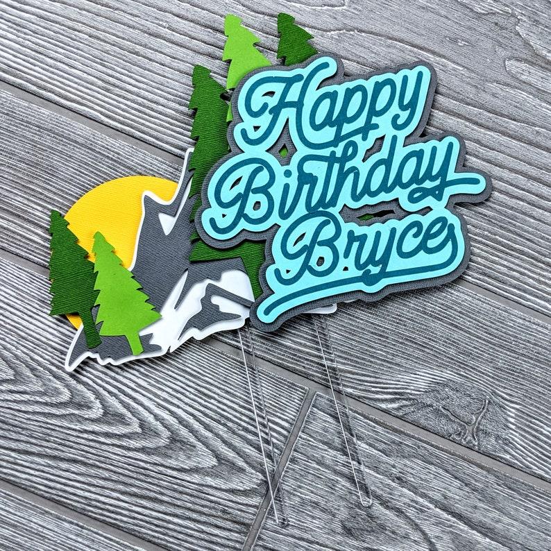 Adventure Rock Climbing Happy Birthday Cake Topper image 0