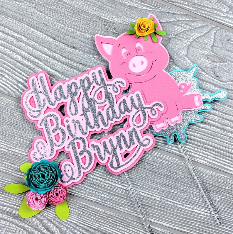 Pig Happy Birthday Cake Topper image 0