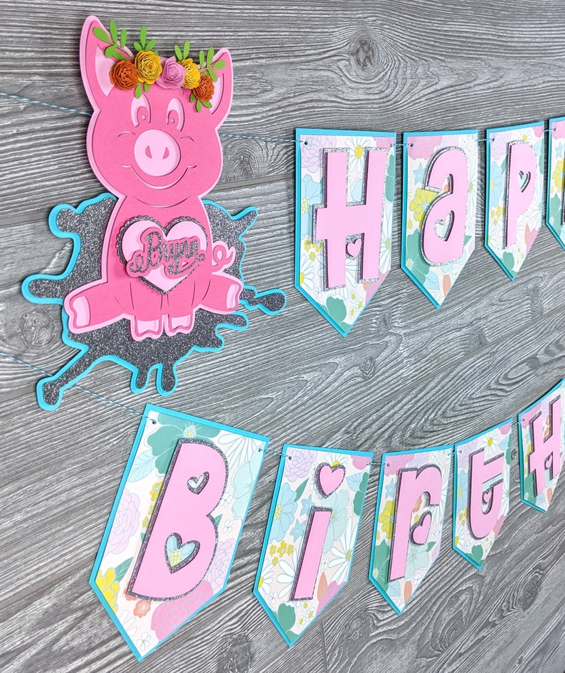 Pig Happy Birthday Banner image 0